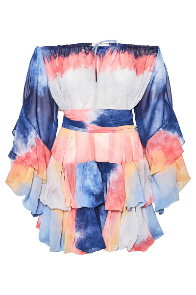 Off-The-Shoulder Short Balloon Dress With Impressive Sleeves And Inset Belts