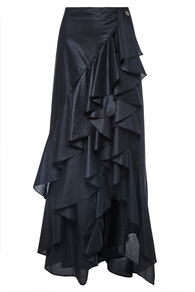 Cotton Poplin Asymmetric Ruffled Maxi Skirt