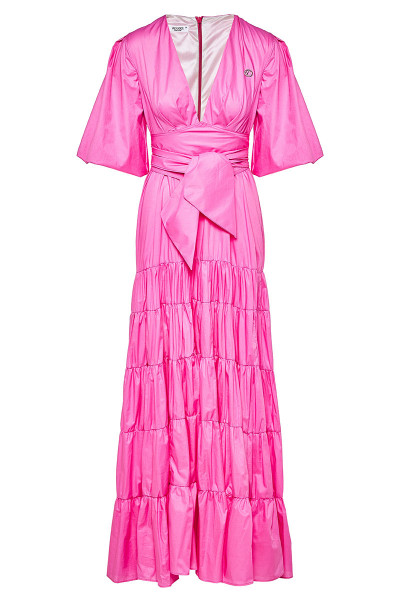 Maxi Gypsy Dress With Plunging Neckline And Balloon Sleeves