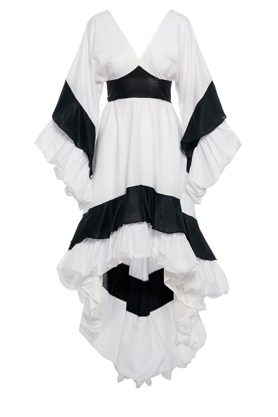 Double-Coloured Tiered Ruffle Dress With Asymmetric Balloon Hem