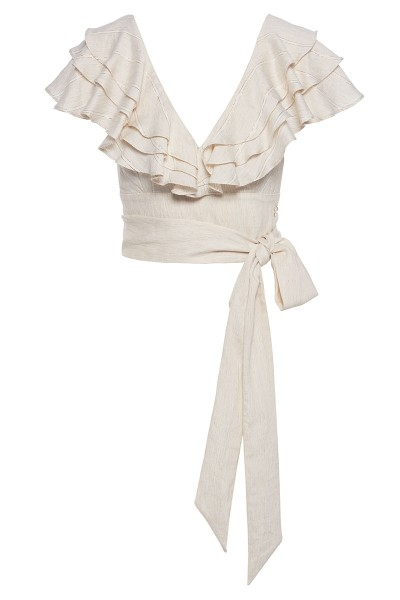 Wraparound Top With Ruffle Detail Shoulders