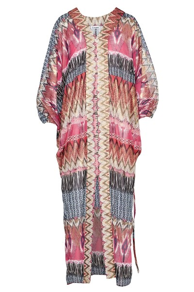Gold-Embellished Print-Blocking Caftan With Dolman Sleeves