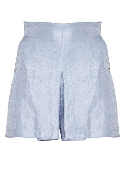 High-Rise Shorts With Inverted Box Pleat And Slash Pockets