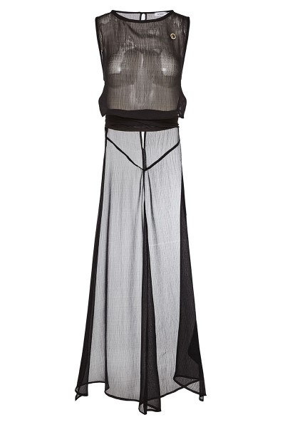 Sleeveless Tunic Crop Top With Long Cutout Back And Inset Belts