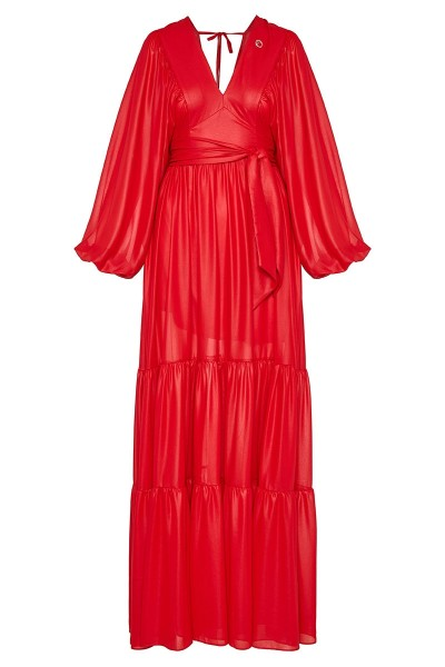 Long-Sleeved Maxi Gypsy Dress With Ruffle-Trim Full Hem And Plunging Neckline