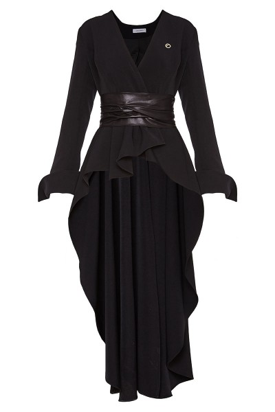Fit-And-Flare Wrap Jacket With Long Back And Inset Leather-Finish Belts