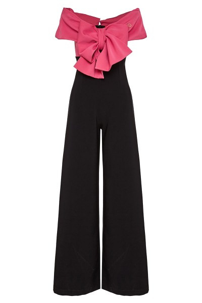 Double-Coloured Jumpsuit With Portrait Neckline And Detachable Bow Embelished Bodice