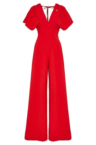 "Square-Armhole Wraparound Jumpsuit With ""V"" Neckline And Butterfly Sleeves"