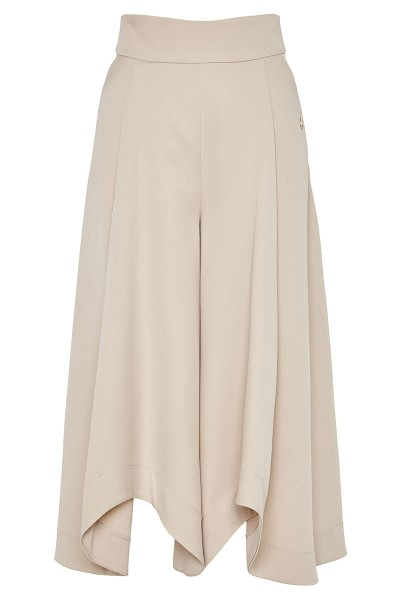 Asymmetric-Hem High-Rise Culottes With Box Pleat And Slash Pockets