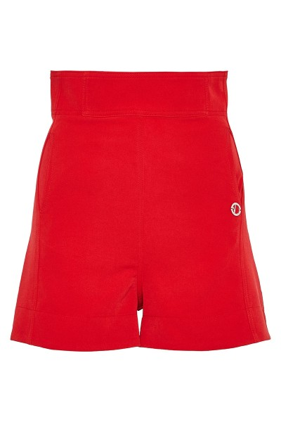 High-Rise Flyless Shorts In Stretch Fabric With Side Seam Pockets