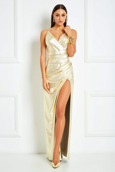 Mirror-Gold High Slit Maxi Dress With Draped Detail