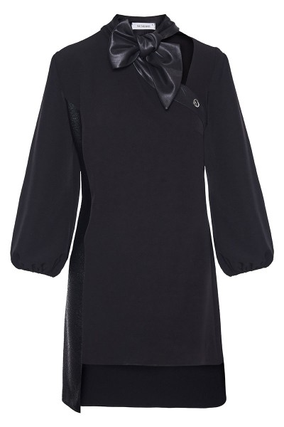 Asymmetric Mini Dress With Statement Collar And Leather Detail