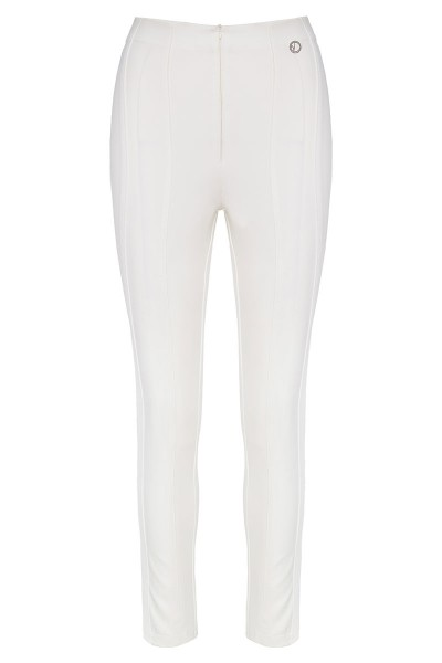High-Rise Pants With Leather Details