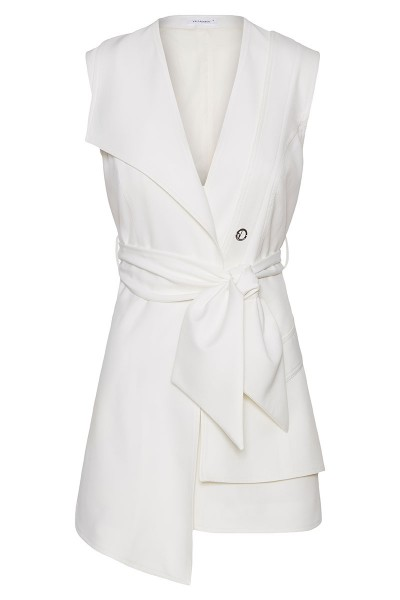 Leather-Layered Asymmetric Belted Vest With One Lapel