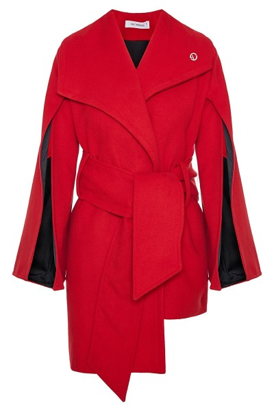 Velour Wool Coat With Split Bell Sleeves