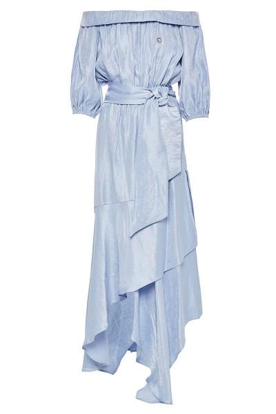Off-The-Shoulder Short-Sleeved Blouson Dress Wth Asymmetric-Hem Tiered Flounce Bottom