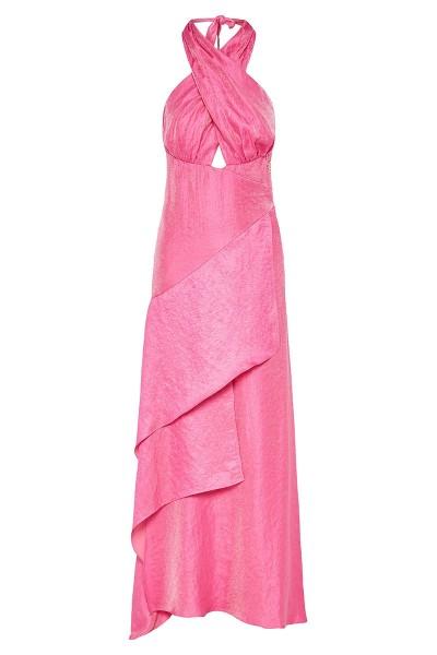 Crossover Halter-Neck Dress With Asymmetric Tiered Flounce Hem