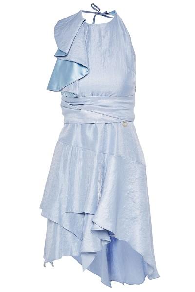 Halter-Neck Wraparound Dress With Asymmetric-Hem Tiered Flounce Bottom