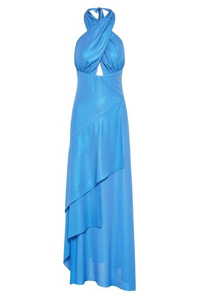 Crossover Halter-Neck Dress With Asymmetric-Hem Tiered Flounce Skirt