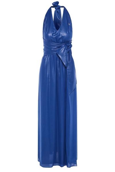Halter-Neck Maxi Dress With Triangular Asymmetric Belt