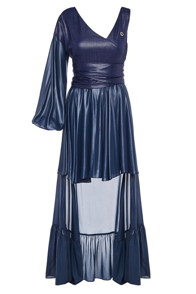 One-Sleeved Linen-Bodice Dress With High-Low Ruffled Hem And Devious Neckline