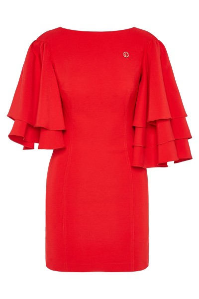 Bodycon Mini Dress With Asymmetric Tiered Ruffle Sleeves