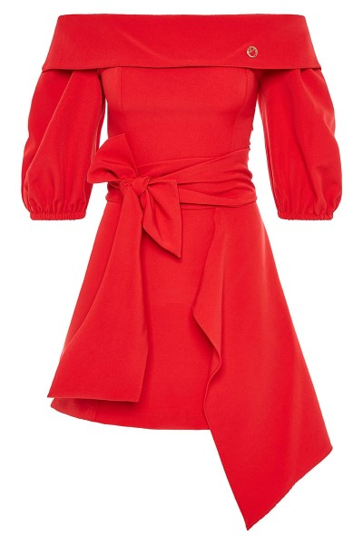Off-The-Shoulder Bodycon Mini Dress With Short Puffed Sleeves