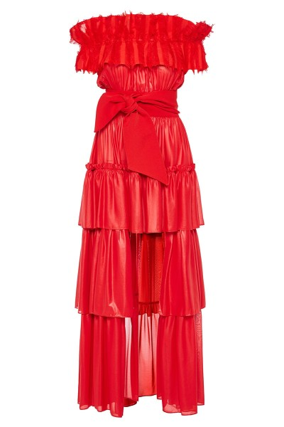 Off-The-Shoulder Tiered Ruffle Dress With Asymmetric Hem And Fringe Detailed Neckline