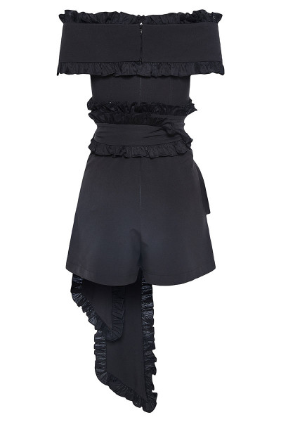 Off-The-Shoulder Short Jumpsuit With Impressive Ruffle Belts