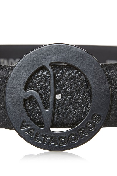 Dollaro Print Leather Belt with Big Black Buckle