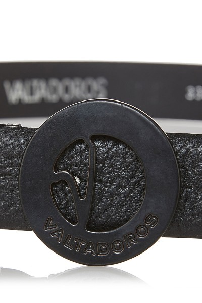 Dollaro Print Leather Belt with Small Black Buckle
