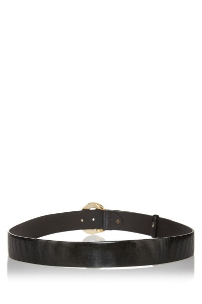 Printed Patent Leather Belt with Big Gold Buckle