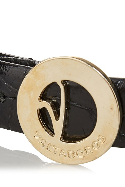 Crocodile-Embossed Patent Leather Belt with Small Gold Buckle