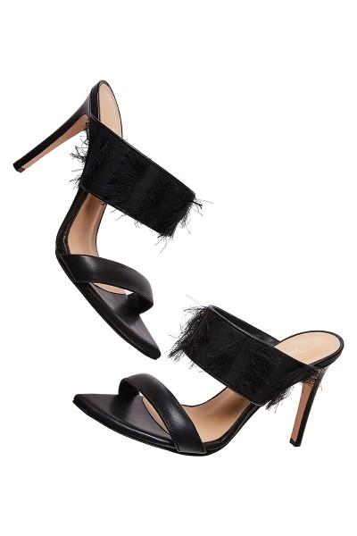 Heeled Mule Sandals With Fringe Textile Upper