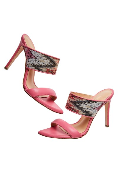 Heeled Mule Sandals With Printed Textile Upper