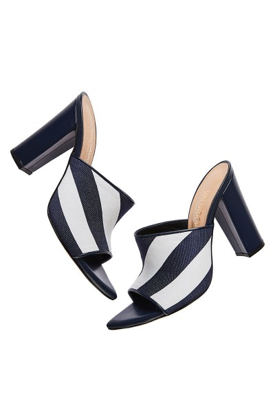 Heeled Mule Sandals With Striped Textile Upper