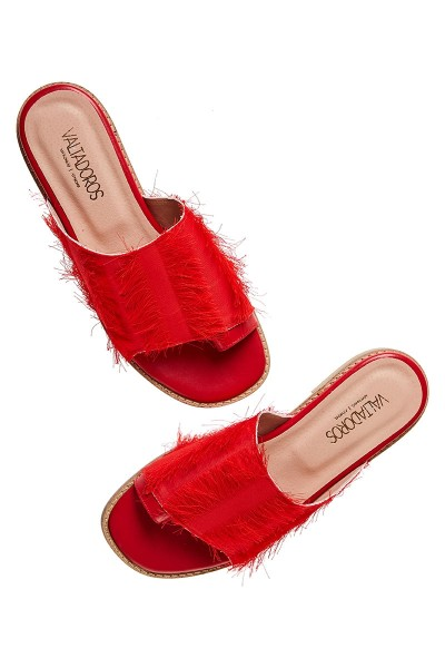 Toe-Ring Flat Slides With Fringe Textile Upper