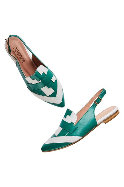 Flat Slingback Mules With Pointed Toe And Geometric Upper