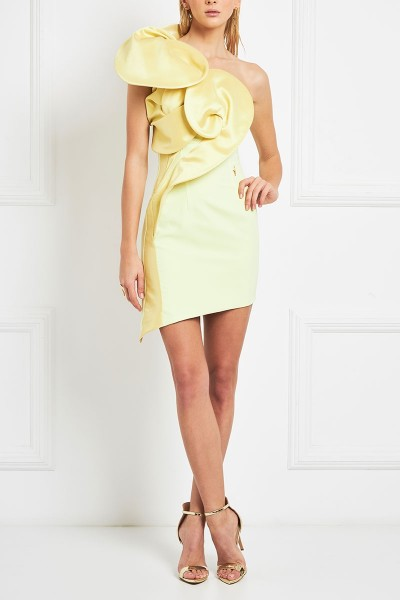 Asymmetric Bodycon Mini Dress With 3D Structured Neckline