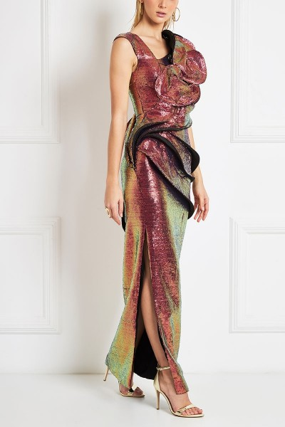 Iridescent Sequin Maxi Column Dress With Structured Waves And Spirals