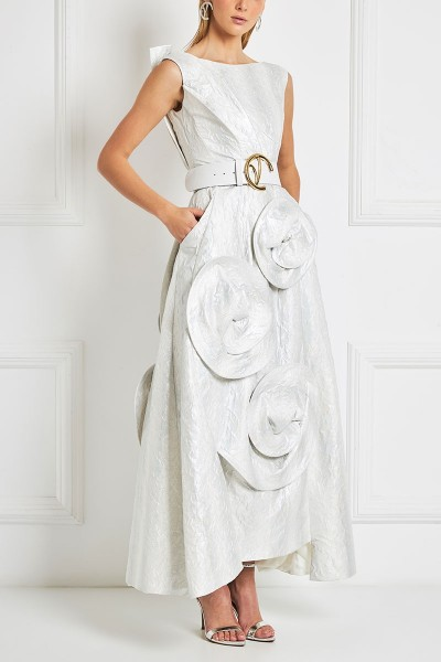 Structured Midi Dress With 3D Blossoming Skirt In Opalescent Hue