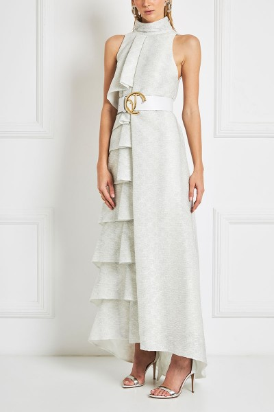Asymmetric Tiered Maxi Dress In Opalescent Lurex Crêpe Textile