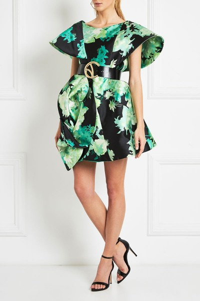 A-Line Mini Dress With Structured Sleeves In Satin Duchess