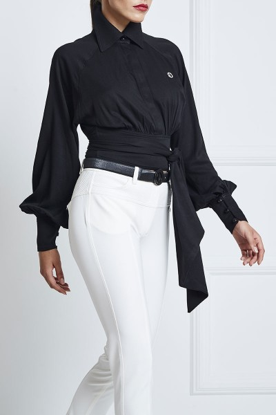 Cotton Voile Wraparound Crop Shirt