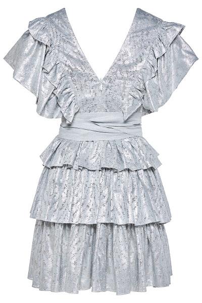 Tiered Ruffle Mini Lace Dress