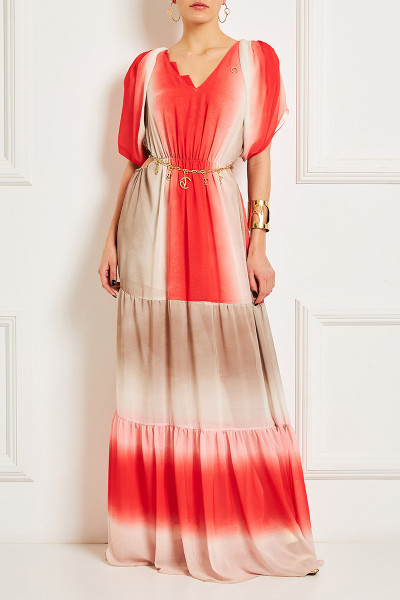 Cutout Maxi Gypsy Dress With Split Balloon Sleeves