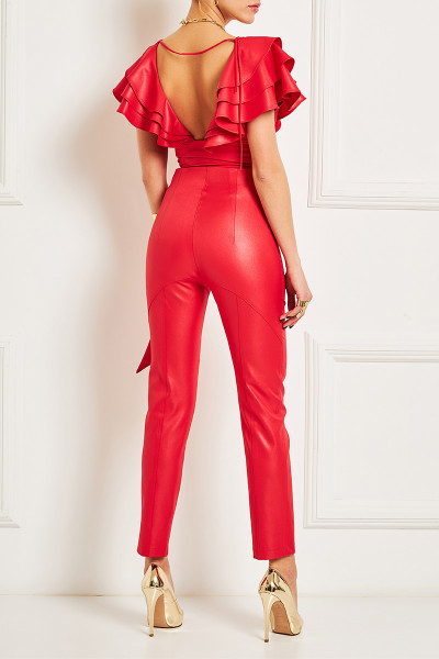 High-Rise Leather Look Pants
