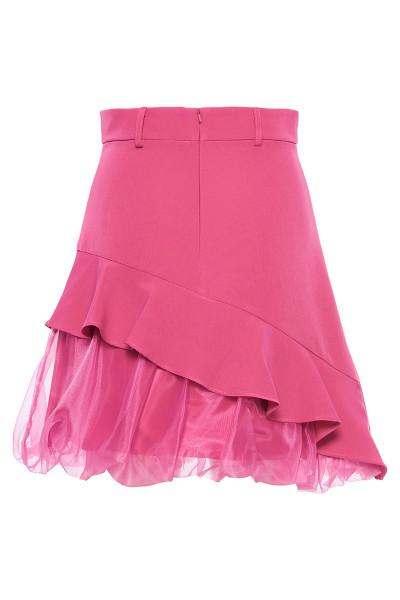 Crepe Skirt With Asymmetric Organza Balloon Hem