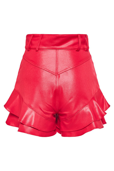 High-Rise Faux Leather Ruffled Shorts