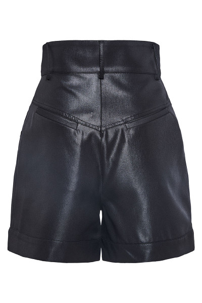High-Rise Pleated Faux Leather Long Shorts